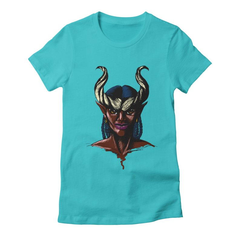 Tiefling Women's Fitted T-Shirt by Necrotic Pixie's Artist Shop