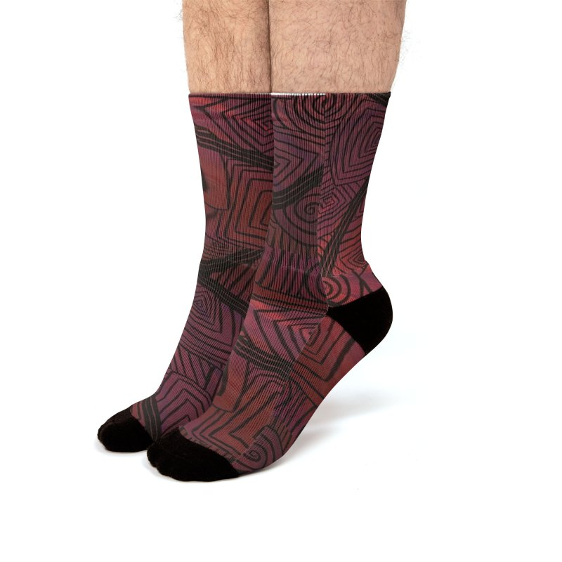 Red and Black Spirals Men's Socks by needsartsupplies's Artist Shop