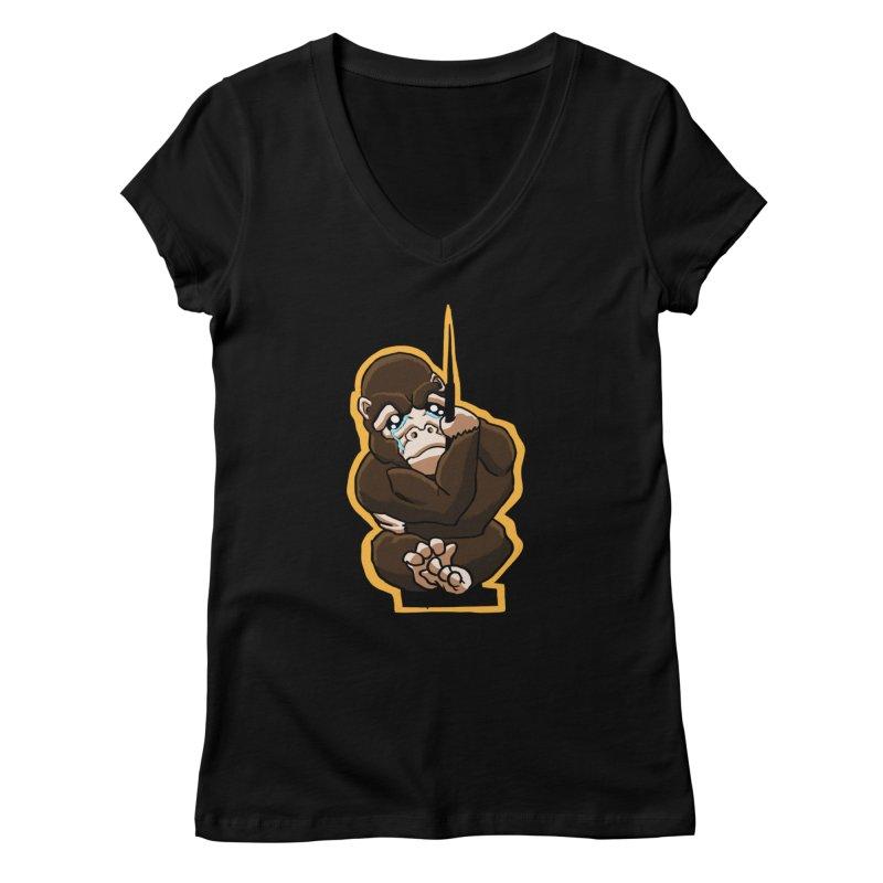 Chibi Gorilla Tears Women's V-Neck by NEKOLAZ