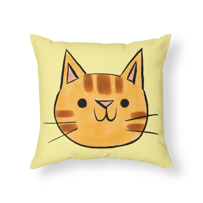 Ginger Cat Home Throw Pillow by Nellie Le