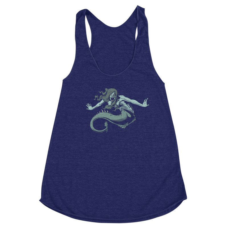 Mermaid Women's Racerback Triblend Tank by Neon Robot Graphics