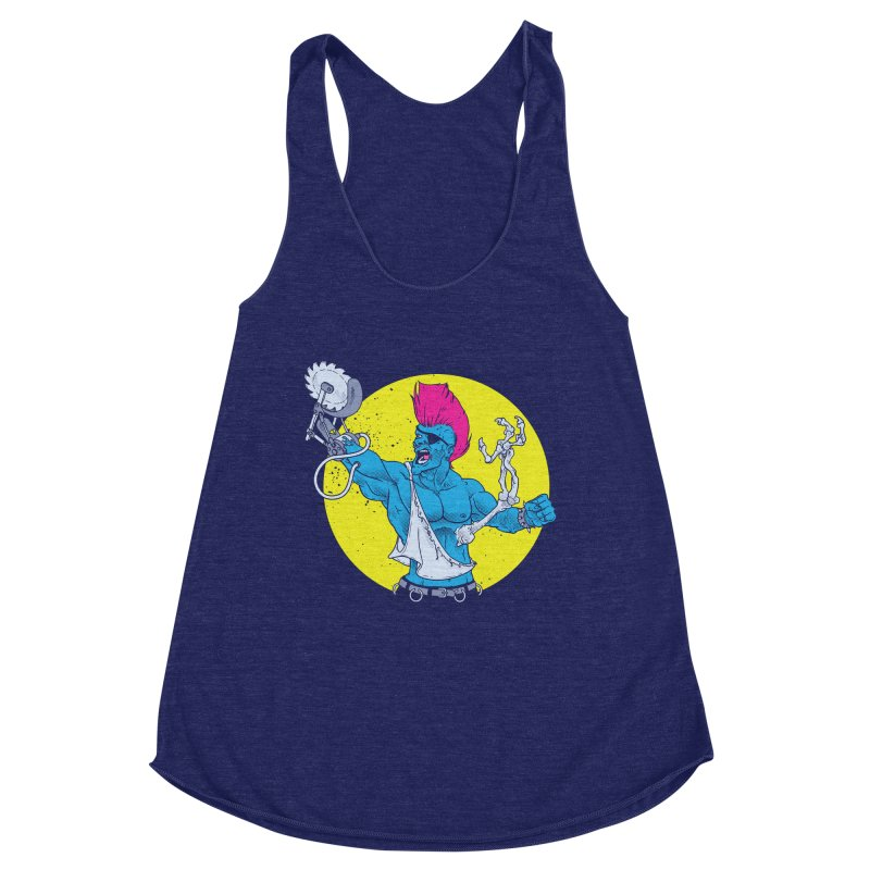 Runk Pock Women's Racerback Triblend Tank by Neon Robot Graphics