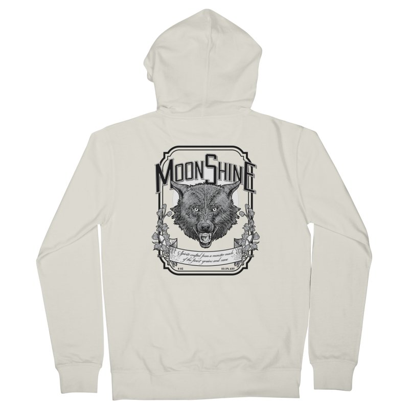 Moonshine Women's French Terry Zip-Up Hoody by Neon Robot Graphics