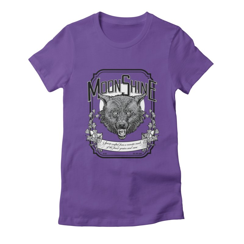 Moonshine Women's Fitted T-Shirt by Neon Robot Graphics