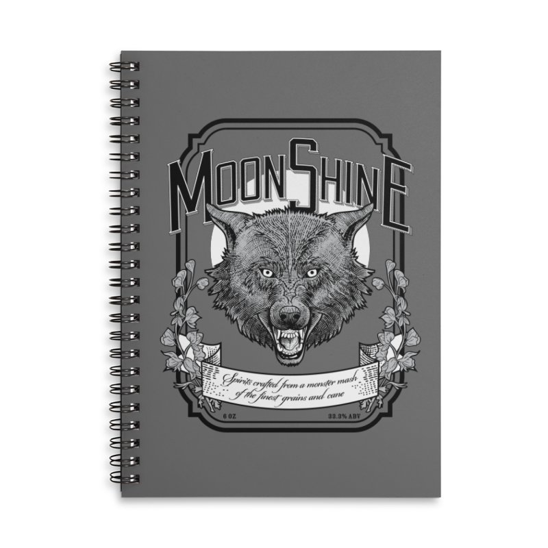 Moonshine Accessories Lined Spiral Notebook by Neon Robot Graphics