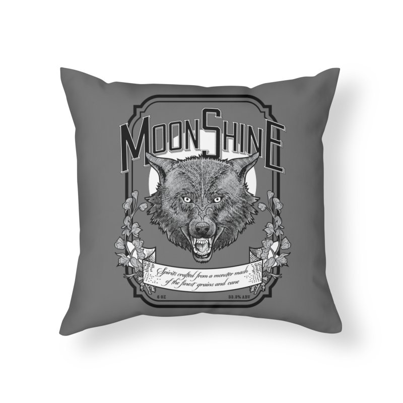 Moonshine Home Throw Pillow by Neon Robot Graphics