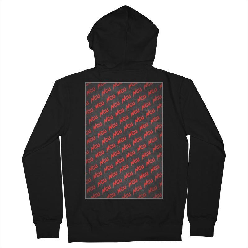 NCU Logo Repeating - Red Women's French Terry Zip-Up Hoody by The Nerd Collaborative Universe
