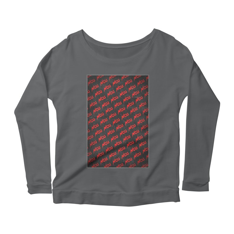 NCU Logo Repeating - Red Women's Scoop Neck Longsleeve T-Shirt by The Nerd Collaborative Universe
