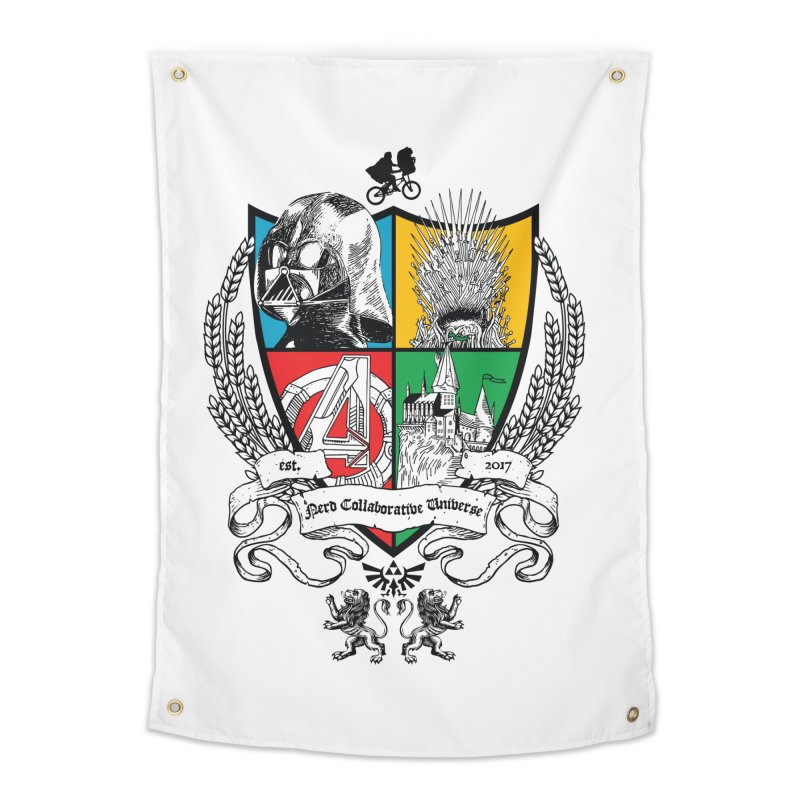 Nerd Crest Home Tapestry by The Nerd Collaborative Universe
