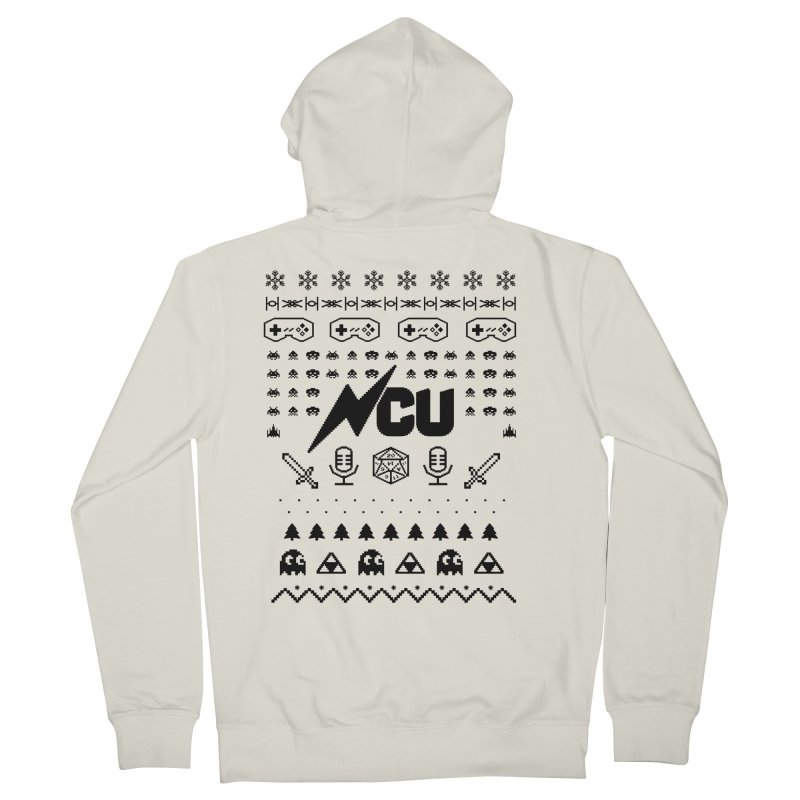 8-Bit Holiday Sweater Men's French Terry Zip-Up Hoody by The Nerd Collaborative Universe