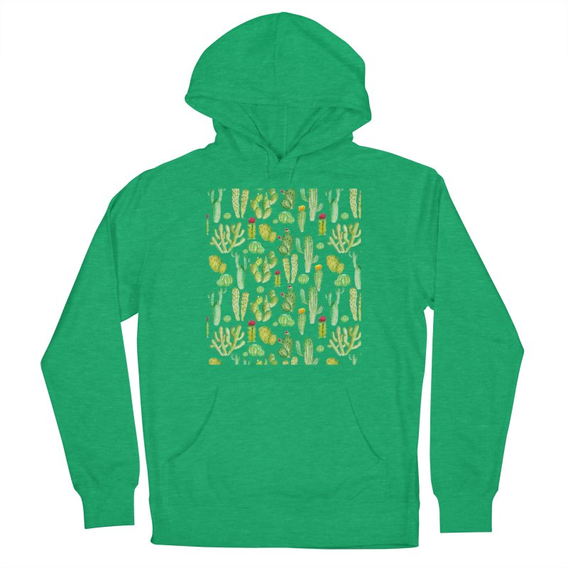 watercolor cactus seamless pattern Men's Pullover Hoody by nereia's Artist Shop
