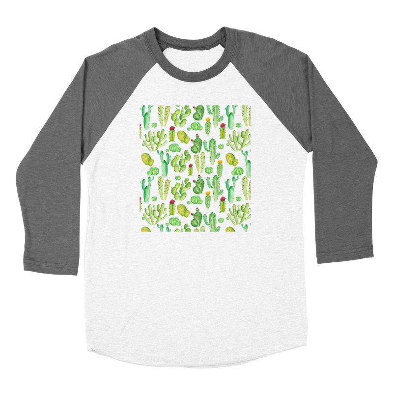 watercolor cactus seamless pattern Women's Longsleeve T-Shirt by nereia's Artist Shop