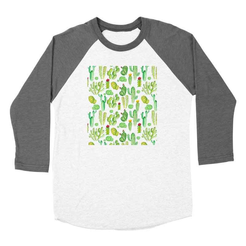 watercolor cactus seamless pattern Men's Longsleeve T-Shirt by nereia's Artist Shop