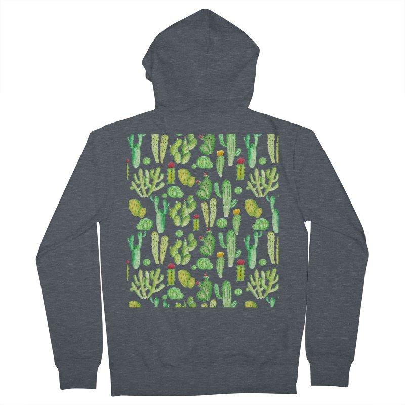 watercolor cactus seamless pattern Women's Zip-Up Hoody by nereia's Artist Shop