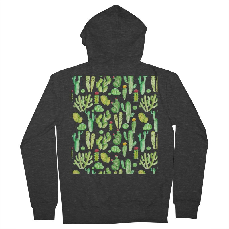watercolor cactus seamless pattern Men's Zip-Up Hoody by nereia's Artist Shop
