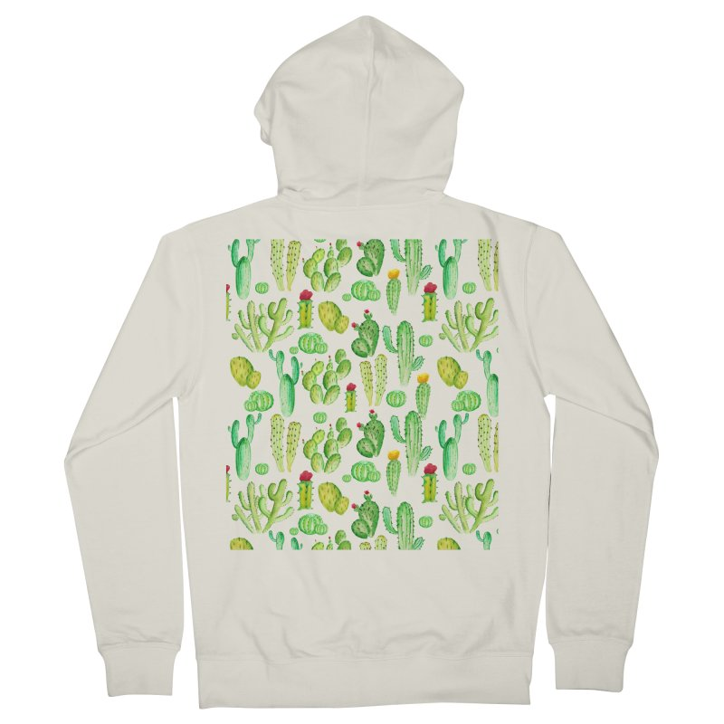 watercolor cactus seamless pattern Men's Zip-Up Hoody by nereia's Artist Shop