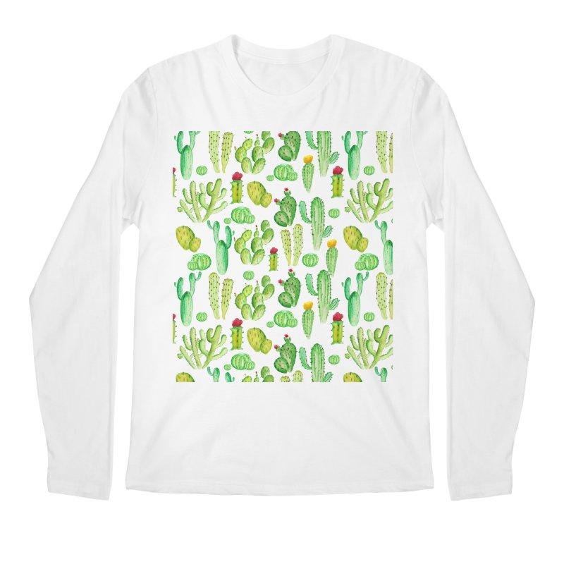 watercolor cactus seamless pattern Men's Longsleeve T-Shirt by nereia's Artist Shop