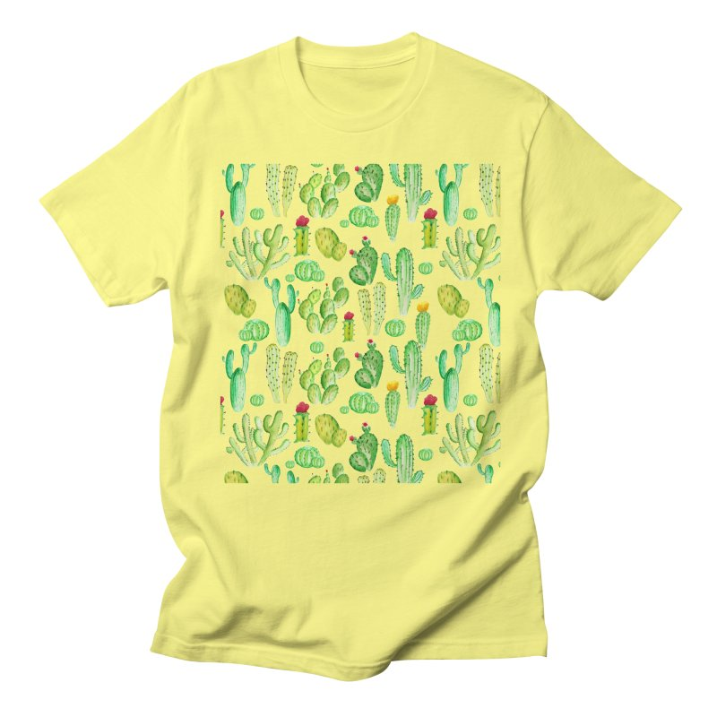 watercolor cactus seamless pattern Men's T-Shirt by nereia's Artist Shop
