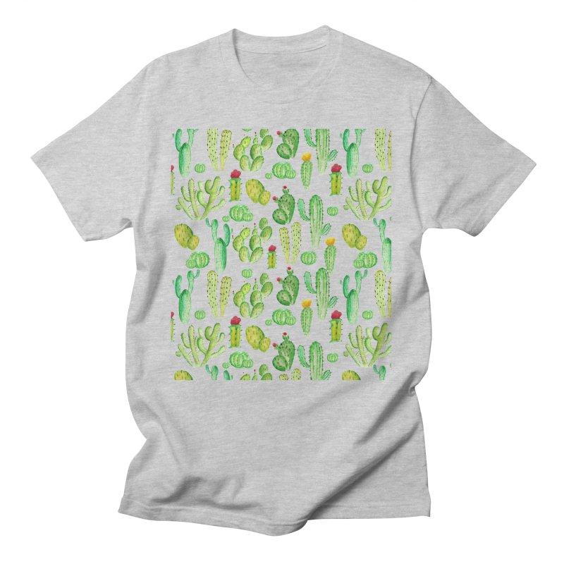 watercolor cactus seamless pattern Men's T-Shirt by nereia's Artist Shop