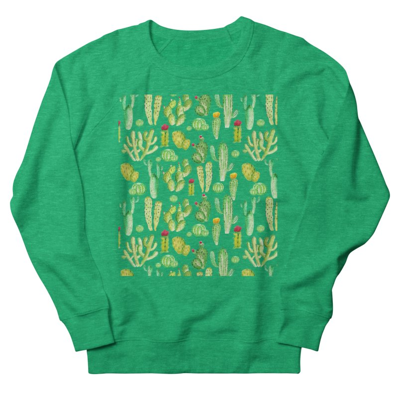 watercolor cactus seamless pattern Men's Sweatshirt by nereia's Artist Shop