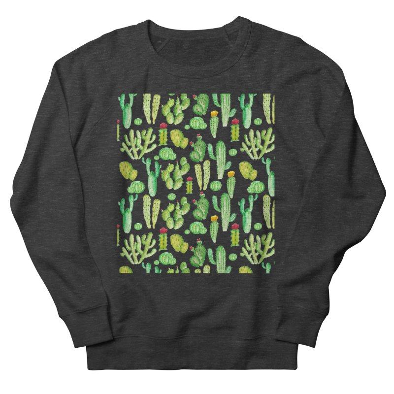 watercolor cactus seamless pattern Men's Sweatshirt by nereia's Artist Shop