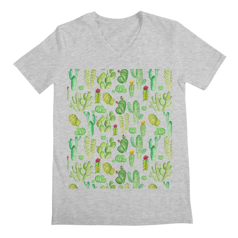watercolor cactus seamless pattern Men's V-Neck by nereia's Artist Shop