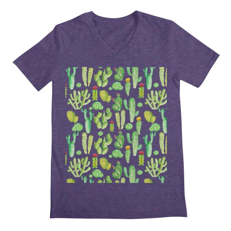 watercolor cactus seamless pattern Men's V-Neck by nereia's Artist Shop