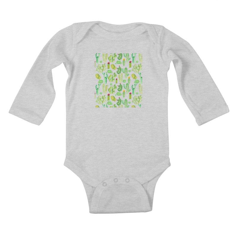 watercolor cactus seamless pattern Kids Baby Longsleeve Bodysuit by nereia's Artist Shop