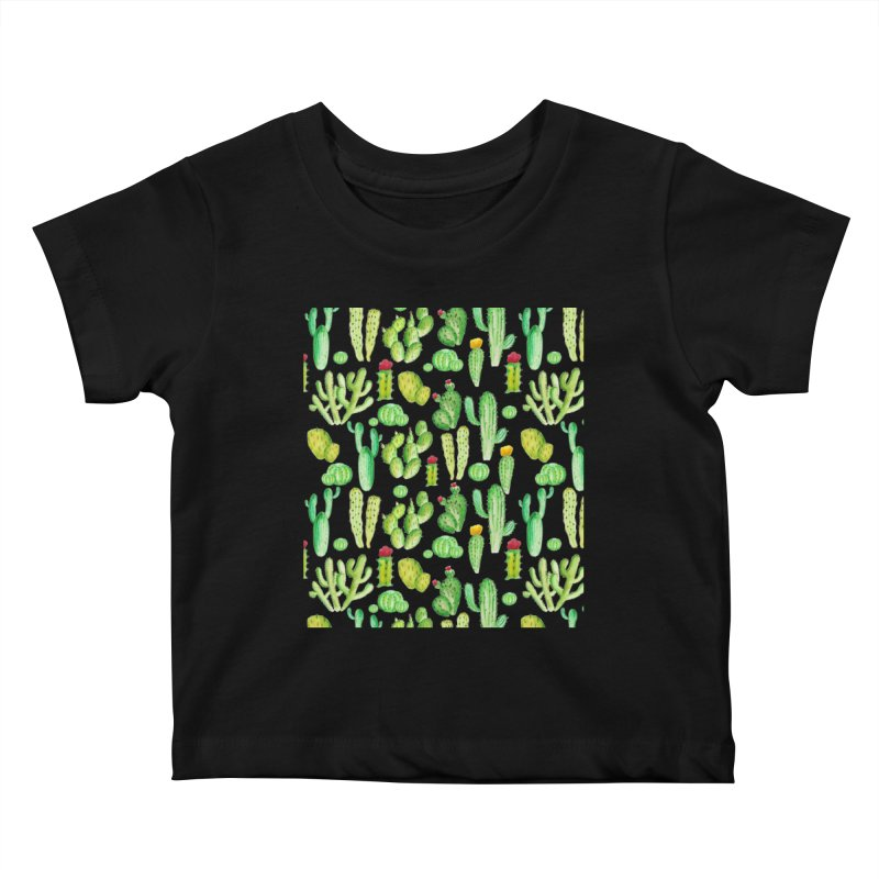 watercolor cactus seamless pattern Kids Baby T-Shirt by nereia's Artist Shop