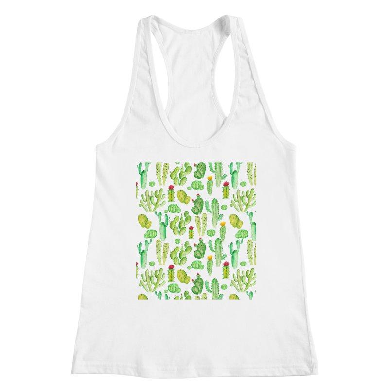 watercolor cactus seamless pattern Women's Tank by nereia's Artist Shop
