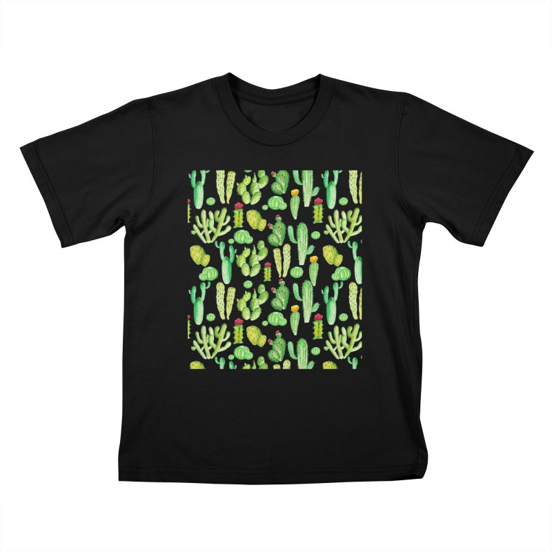 watercolor cactus seamless pattern Kids T-Shirt by nereia's Artist Shop