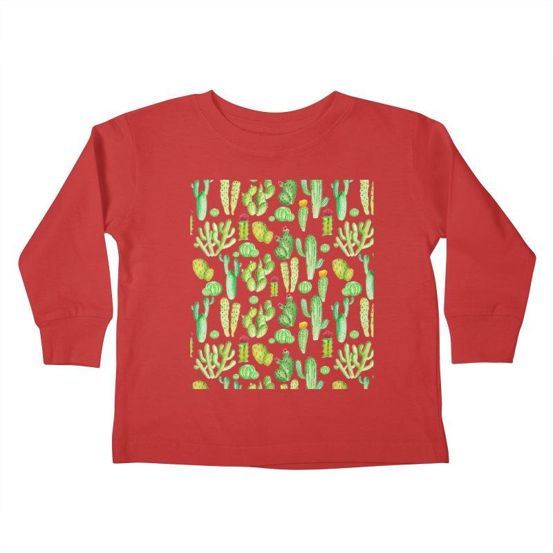 watercolor cactus seamless pattern Kids Toddler Longsleeve T-Shirt by nereia's Artist Shop