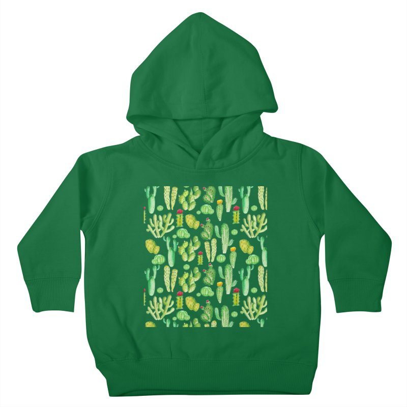 watercolor cactus seamless pattern Kids Toddler Pullover Hoody by nereia's Artist Shop