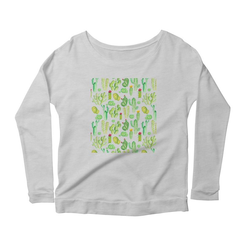 watercolor cactus seamless pattern Women's Longsleeve T-Shirt by nereia's Artist Shop