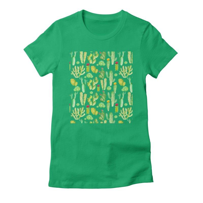 watercolor cactus seamless pattern Women's T-Shirt by nereia's Artist Shop