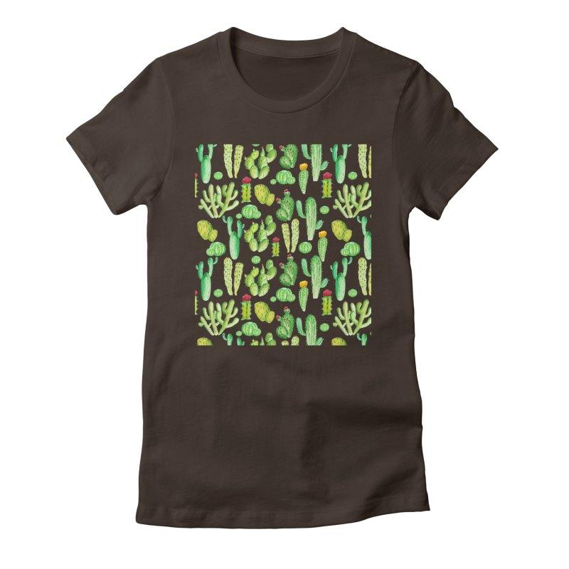 watercolor cactus seamless pattern Women's T-Shirt by nereia's Artist Shop