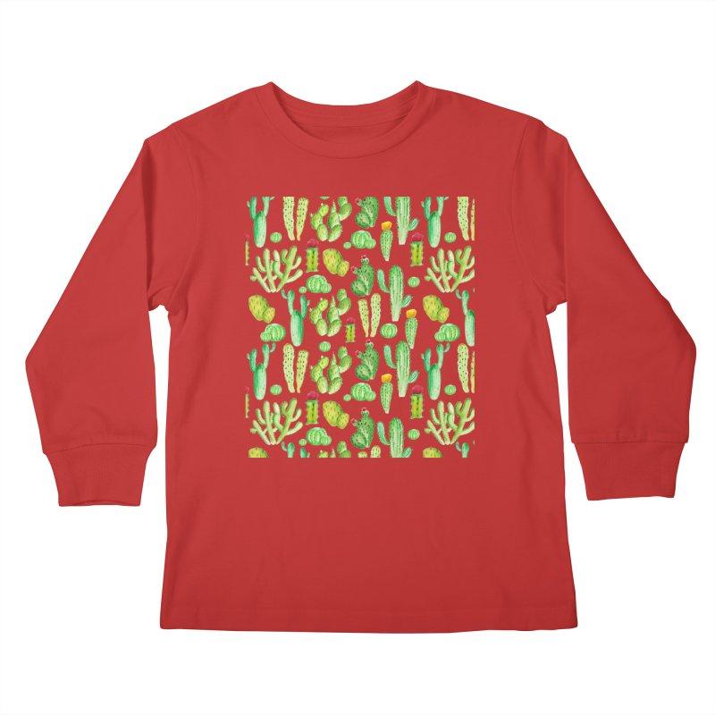 watercolor cactus seamless pattern Kids Longsleeve T-Shirt by nereia's Artist Shop