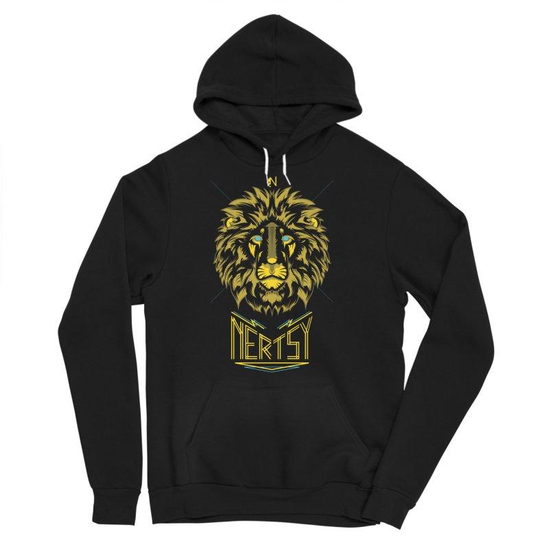 King Lion in Men's Sponge Fleece Pullover Hoody Black by Nertsy