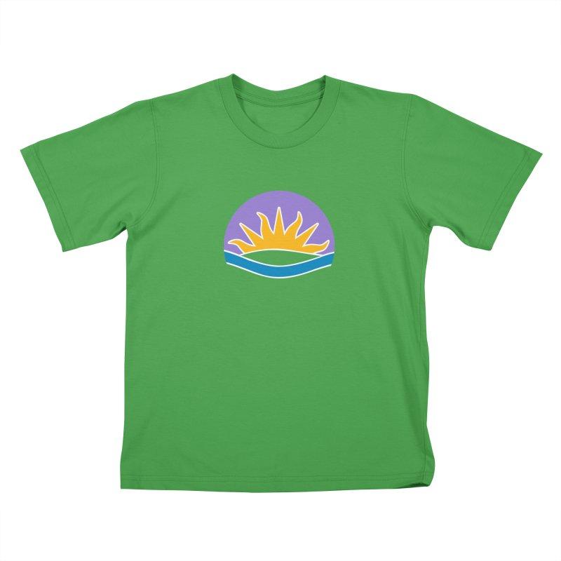Edmonton Flag Colour Emblem shirt (green) Kids T-Shirt by Designs by Ryan McCourt