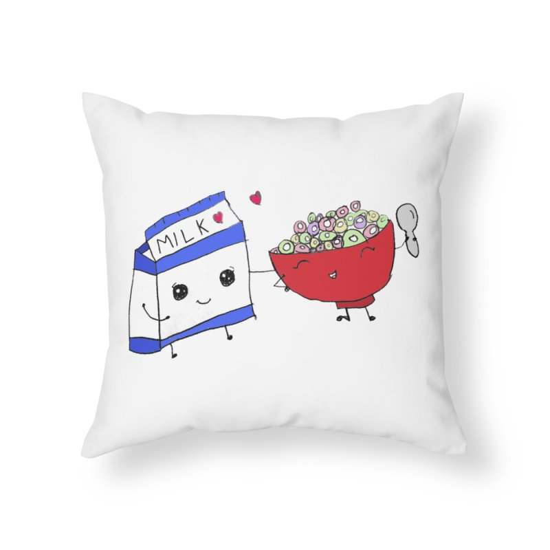 Cute Milk and Cereal Home Throw Pillow by Designs by Ryan McCourt