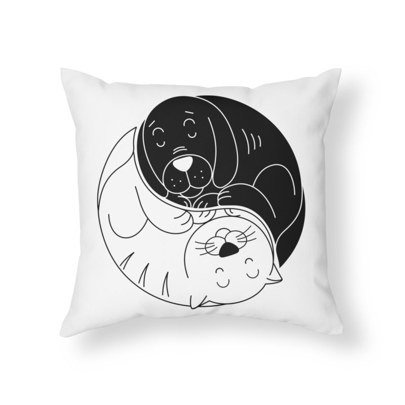 Cats And Dogs Home Throw Pillow by netralica