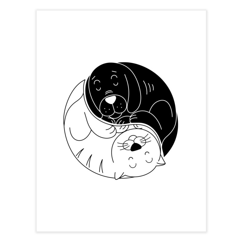 Cats And Dogs Home Fine Art Print by netralica