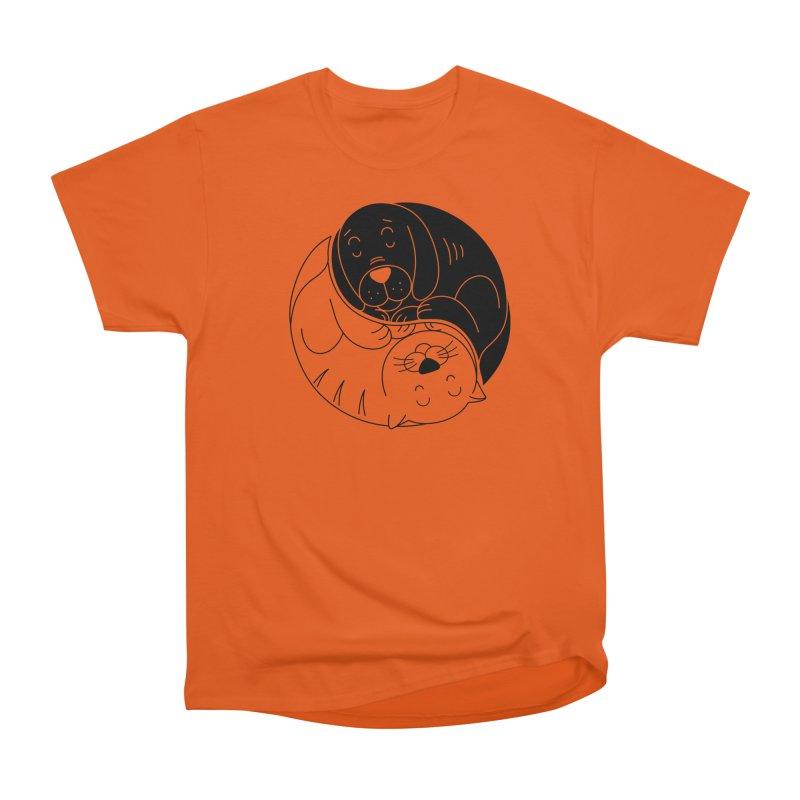 Cats And Dogs Men's Heavyweight T-Shirt by netralica's Artist Shop