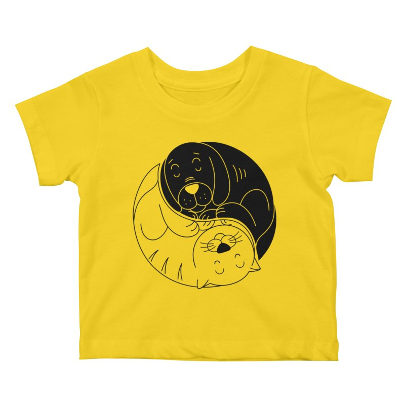 Cats And Dogs Kids Baby T-Shirt by netralica