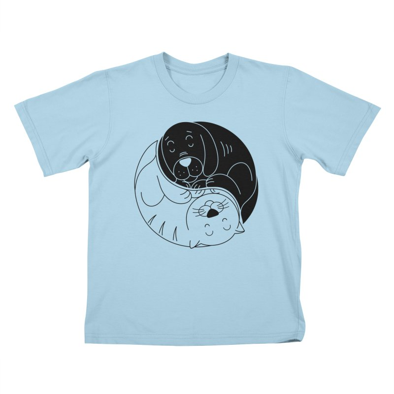 Cats And Dogs Kids T-Shirt by netralica