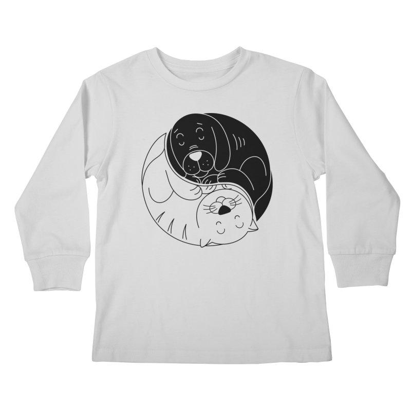 Cats And Dogs Kids Longsleeve T-Shirt by netralica's Artist Shop