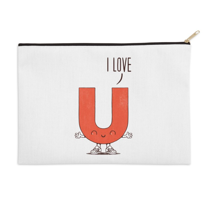 I LOVE U Accessories Zip Pouch by netralica