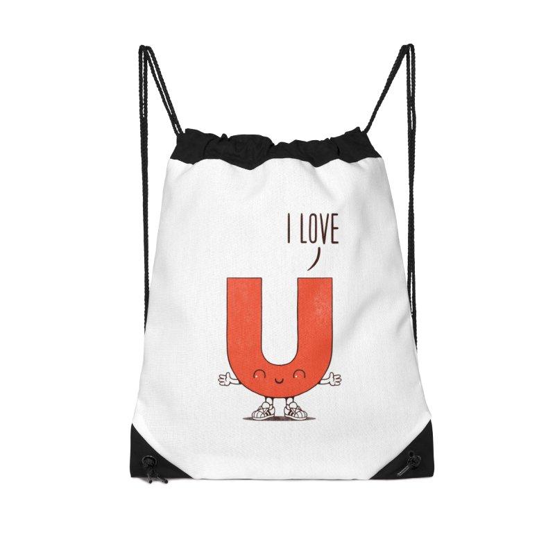 I LOVE U Accessories Drawstring Bag Bag by netralica