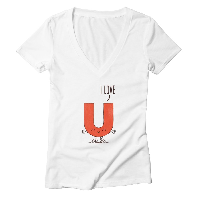 I LOVE U Women's V-Neck by netralica