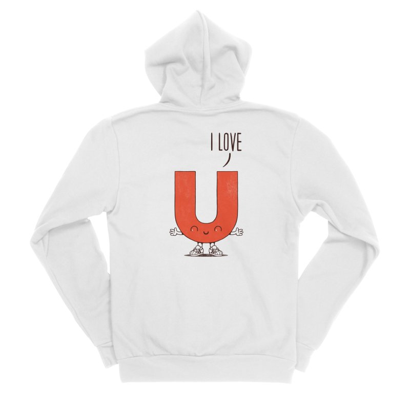 I LOVE U Women's Sponge Fleece Zip-Up Hoody by netralica